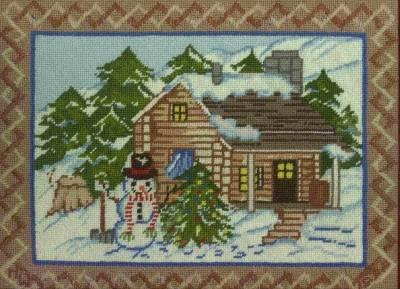 Needlepoint cabin