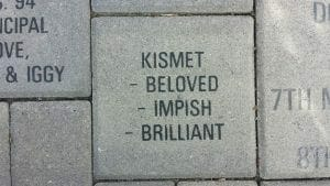 Kismet's brick, right side up
