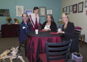 The author, Debby Boone, Kismet and others at the Braille Institute
